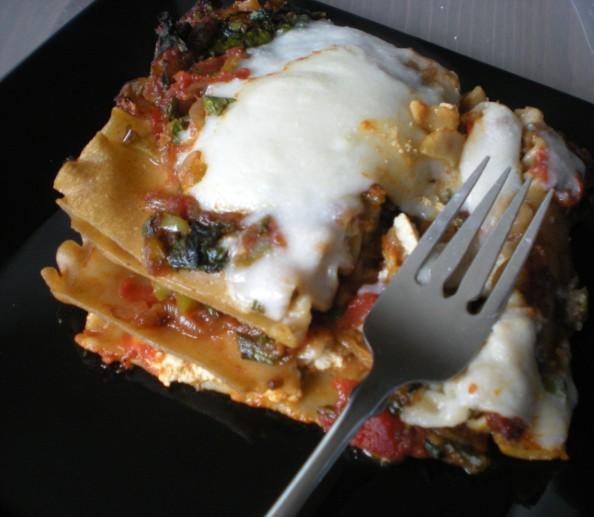 Kale, Caramelized Onion & 2-Cheese Vegan Lasagna